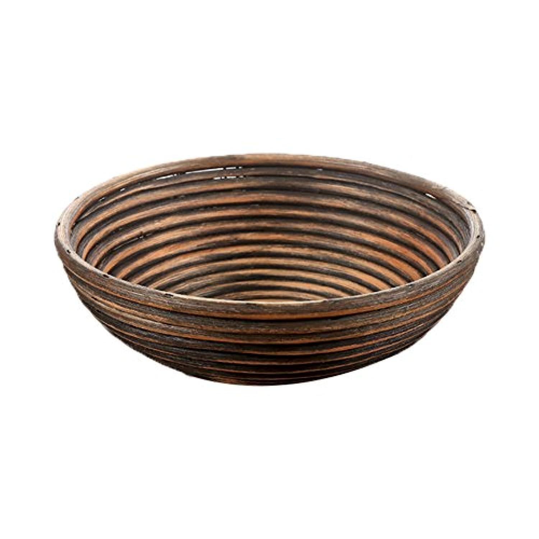 復古かご 装飾籐トレー 雑貨 小物収納かご 植物ポット 多肉植え鉢 収納バスケット 和風 円形 おしゃれ (25 x 8CM)