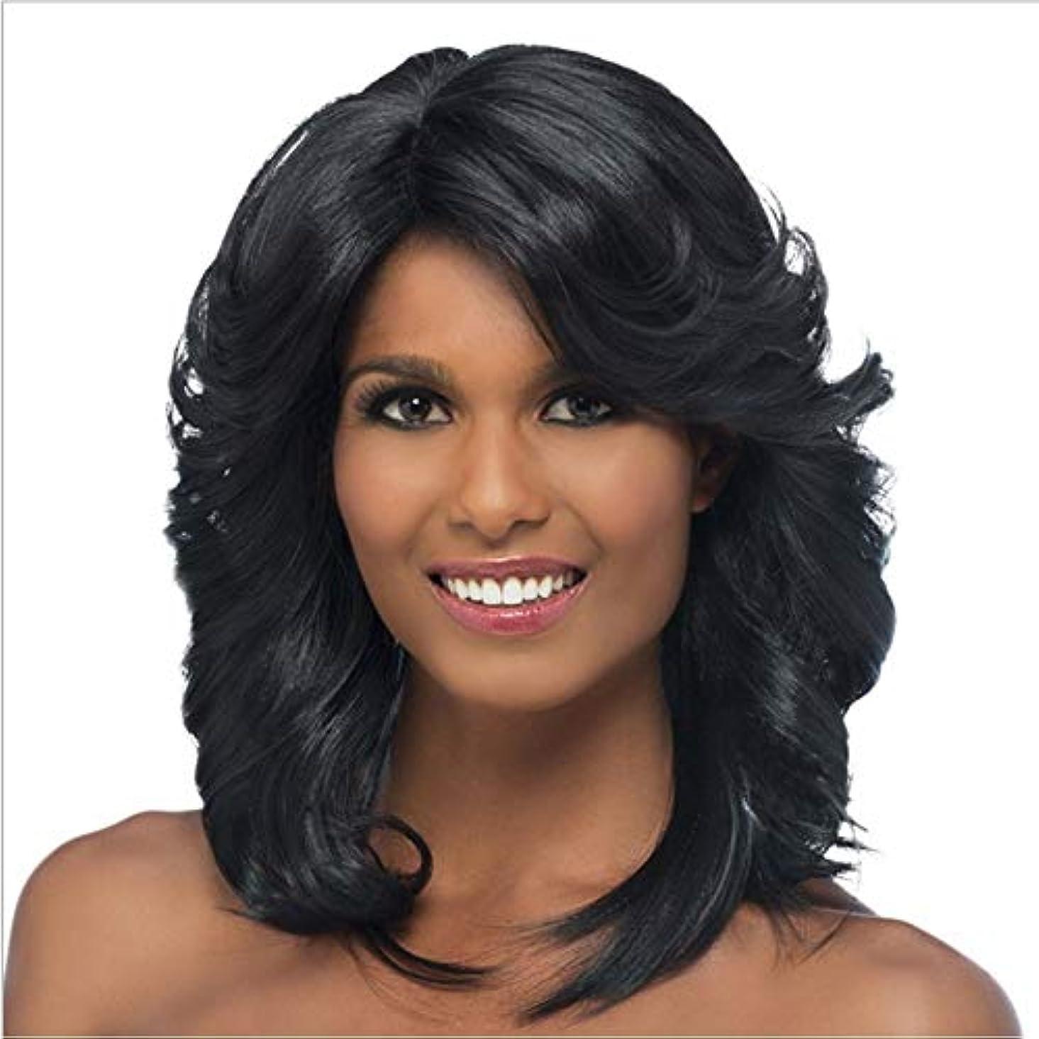 パフ気怠いパフYOUQIU 女性の毎日のパーティーウィッグのための合成髪ブラックカーリーヘアショルダー長ウィッグ (色 : 黒)