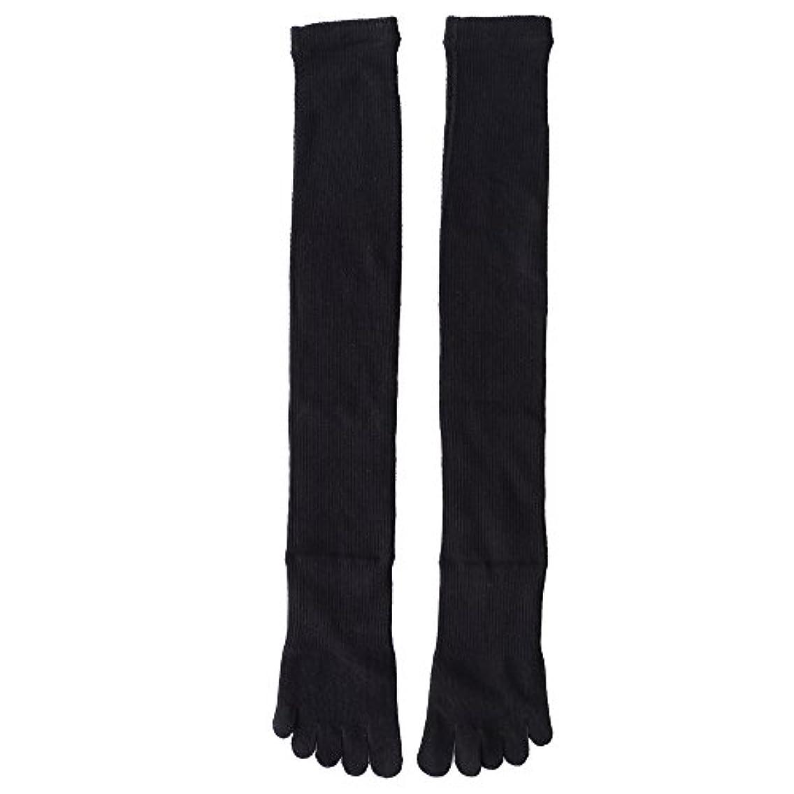 二十割るきらめく日本製靴下 5本指 着圧オーバニーハイソックス