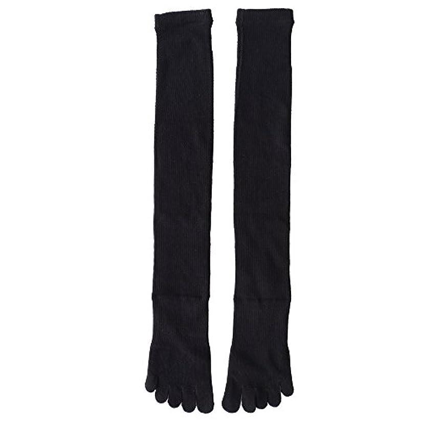 折きしむリボン日本製靴下 5本指 着圧オーバニーハイソックス
