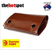 Tan Brown Leather Cigarette Tobacco Pouch Bag Filter Rolling Paper Fathers Day
