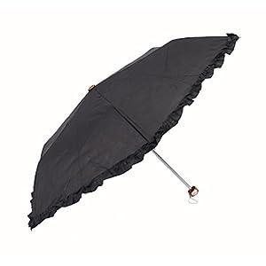アテイン 晴雨兼用 軽量折畳傘 親骨50cm エンボスフリル 黒 6410