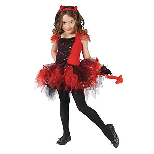 (ゾンシノー) Zoncinoo ハロウィン 衣装 子供 女の子 ドレス コスプレ 猫 衣装 小悪魔 衣装 仮装 魔女ドレス キッズ コスプレ 子ども ワンピース 角カチューシャ 手袋 3点 セット レッド (XL)