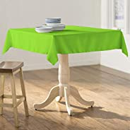 LA Linen Polyester Poplin Square Tablecloth, 58 by 58-Inch, Lime