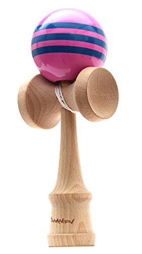 【DAMAKEN】 けん玉 ストリートけん玉 フリースタイル ケンダマ 【見やすい ストライプ 模様 モデル 】技 成功率UP 木のおもちゃ けん玉 プレゼントにも エクストリームけん玉 (ピンク)