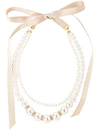 GIRL(ガール) 結婚式 二次会 お呼ばれ 大小パール&ビジューグログランリボン2連ネックレス