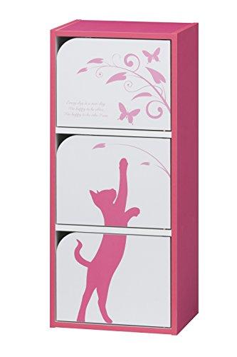 RoomClip商品情報 - 白井産業 【SHIRAI】 マルチラック カラーボックス 3枚扉 猫柄 シャローゼ ピンク CRS-9040 3D PK