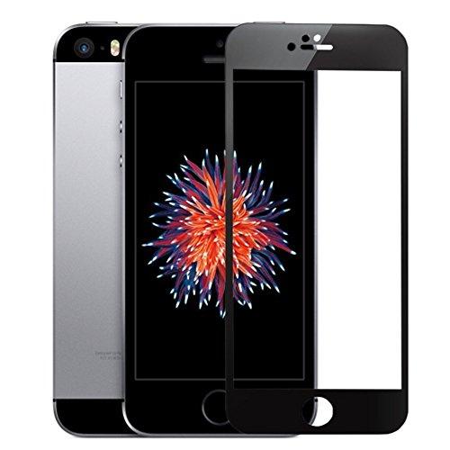 SUPTMAX iPhone SE 対応 iPhone SE 液晶保護フィルム iPhone 5Sフィルム 0.26mm 2.5D 9H 強化ガラス 耐衝撃 自動吸着99%高透過率 気泡ゼロ iPhone SE 5S 5C 5 ガラスフィルム 全面 (ブラック)