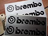 Brembo Unlined Oblong Stickers black & silver ブレンボ ステッカー デカール シール 海外限定 150mm x 40mm 2枚セット [並行輸入品]