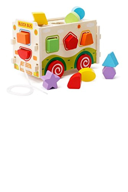 yasushoji 木のおもちゃ 知育玩具 図形 パズル 形はめ ブロック 数字 車 幼児 プレゼント お祝い (くるま)