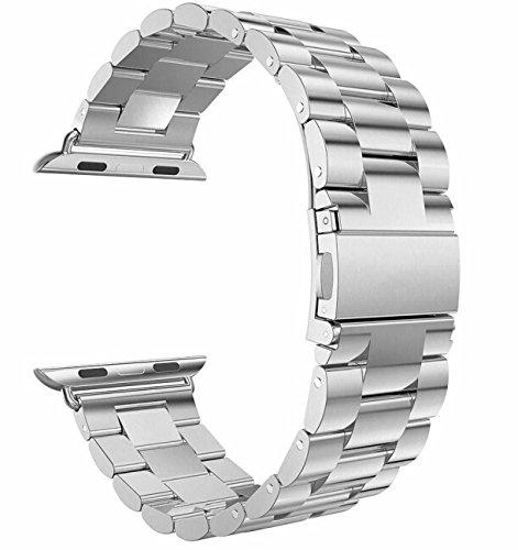 Apple Watch 金属ベルト Evershop 38mm 42mm ステンレス ベルト ビジネス風 時計バンド 腕時計ストラップ series 1 series 2 series 3 series 4対応 (38mm, シルバー) apple watch バンド