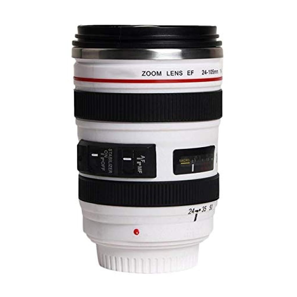 または兵器庫のホストSaikogoods ファッション1PCS耐久DIYステンレス鋼真空フラスコ旅行コーヒーマグカップ水コーヒーティーカメラレンズカップのふたギフト付き 白