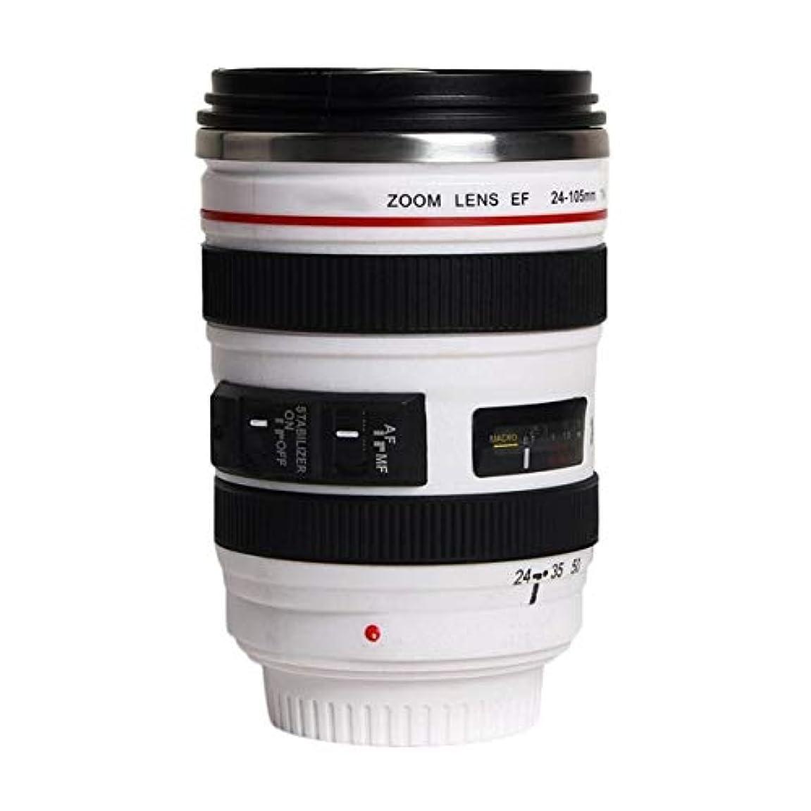 高原令状親密なSaikogoods ファッション1PCS耐久DIYステンレス鋼真空フラスコ旅行コーヒーマグカップ水コーヒーティーカメラレンズカップのふたギフト付き 白