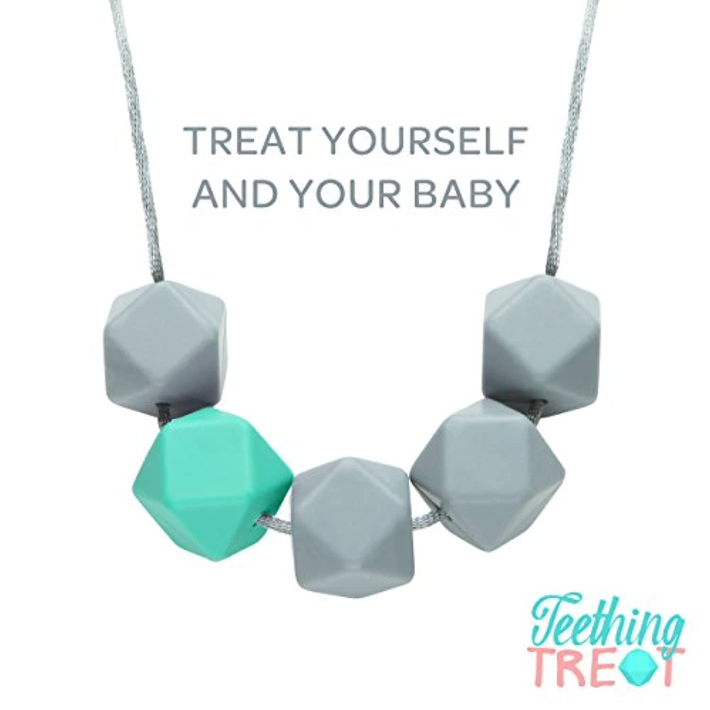 Designer Teething and Nursing Necklace & Gift Box By TeethingTreat (Gray/Blue) by TeethingTreat