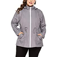 IN'VOLAND Women's Plus Size Rain Jacket Waterproof Coat Windbreaker
