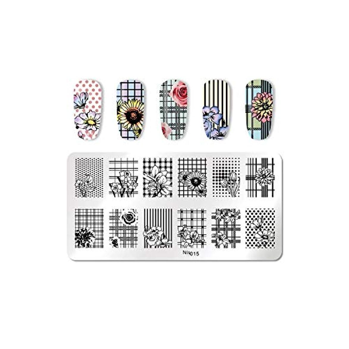 収縮いまシャンパンパイナップルココナッツネイル花の幾何学的デザインスタンピングテンプレート画像印刷ステンシル,15