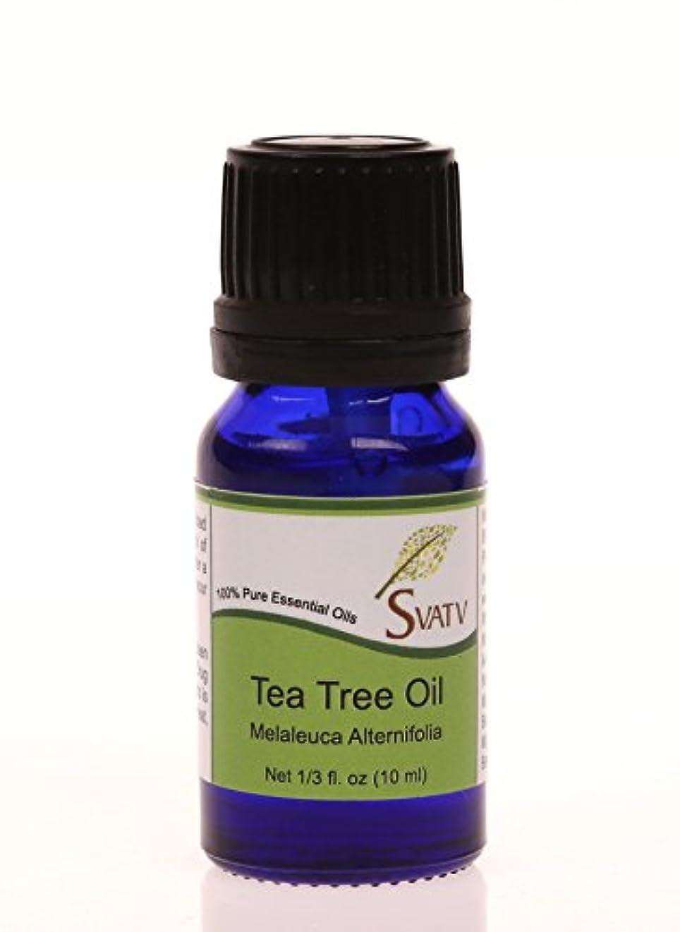 眠いです離婚結晶SVATVティーツリー(Melaleuca alternifolia)エッセンシャルオイル10mL(1/3オンス)100%純粋な、希釈されていない、治療グレード