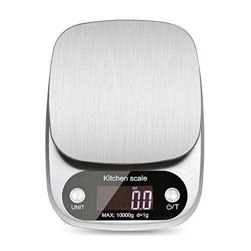 Elitehood 台所用デジタルスケール (10Kg/1g)食品スケール ステンレス四種類の測定ユニット 皮重功能 風袋機能 零点設定 (シルバー )