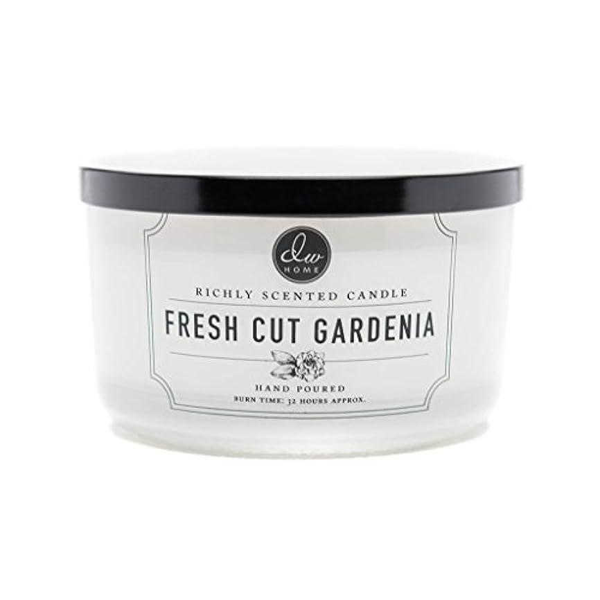 ドラム百年影響するDW Home Fresh Cut Gardenia Scented Large 3-wick Dish Candle by DW Home Decoware