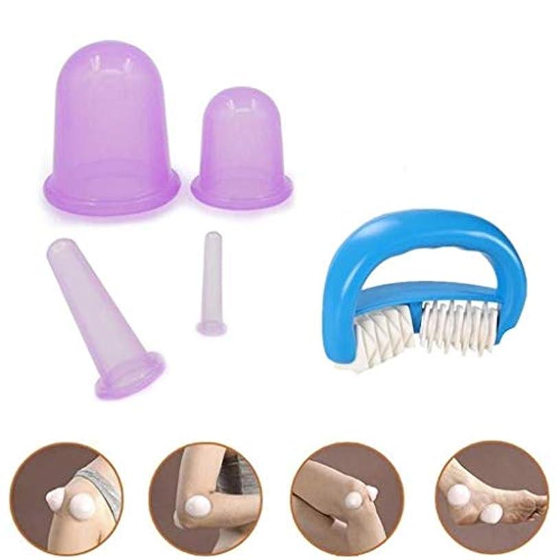 シリコンカッピングカップ、スリミングローラーカッピングデバイス、ポータブルしわ除去脂肪セット、ボディリンパ筋膜ファミリー真空マッサージカップ