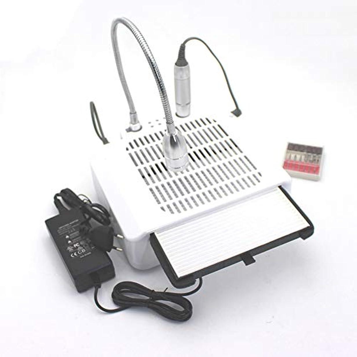 60W 3 in 1電気ネイルドリルアート集塵機吸引機デスクランプマニキュアペディキュアネイルアート機器ネイルドリル