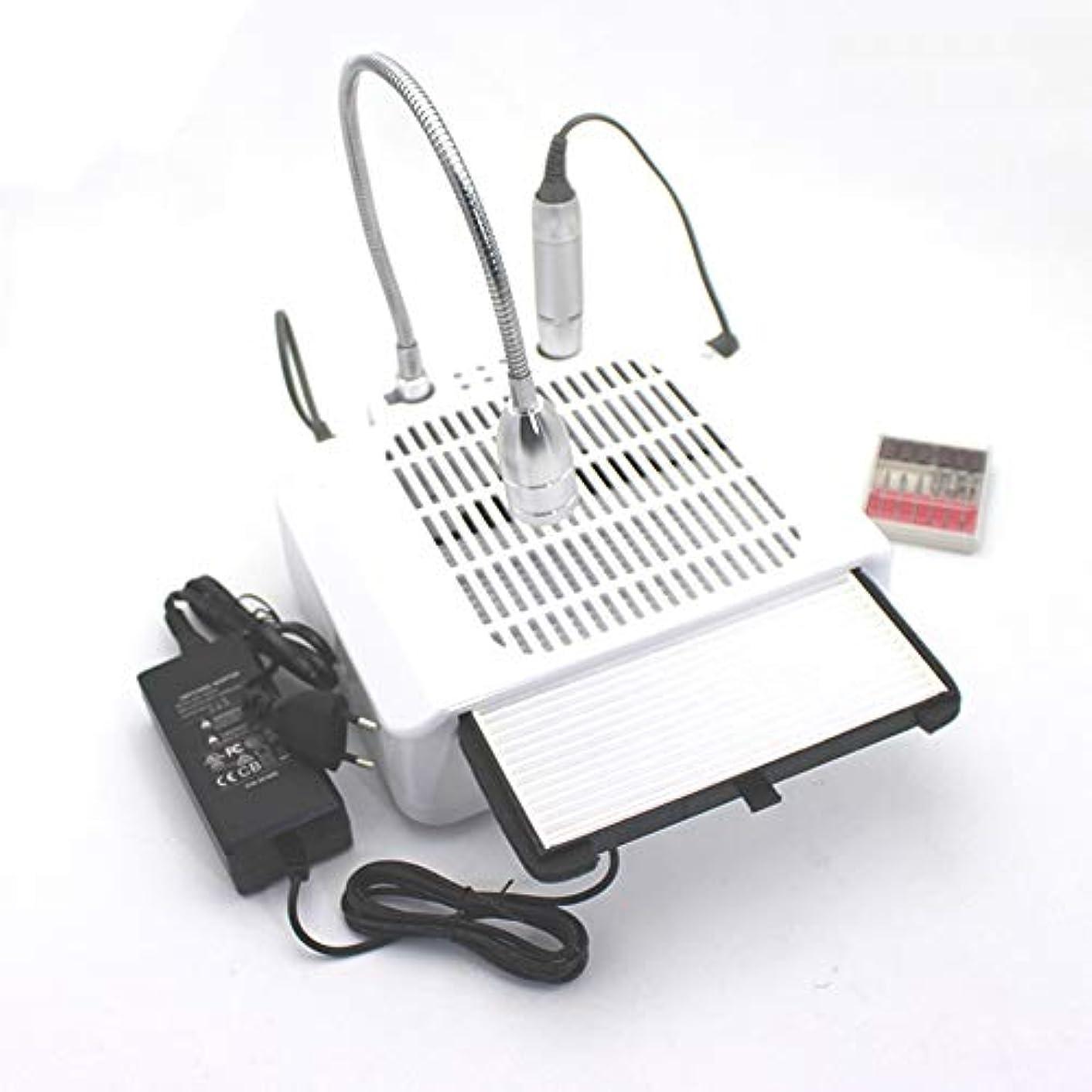 打ち上げるソーセージ取り組む60W 3 in 1電気ネイルドリルアート集塵機吸引機デスクランプマニキュアペディキュアネイルアート機器ネイルドリル