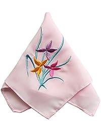 エレガントな2pcsレディースハンカチ、Orchidフラワー、ピンク