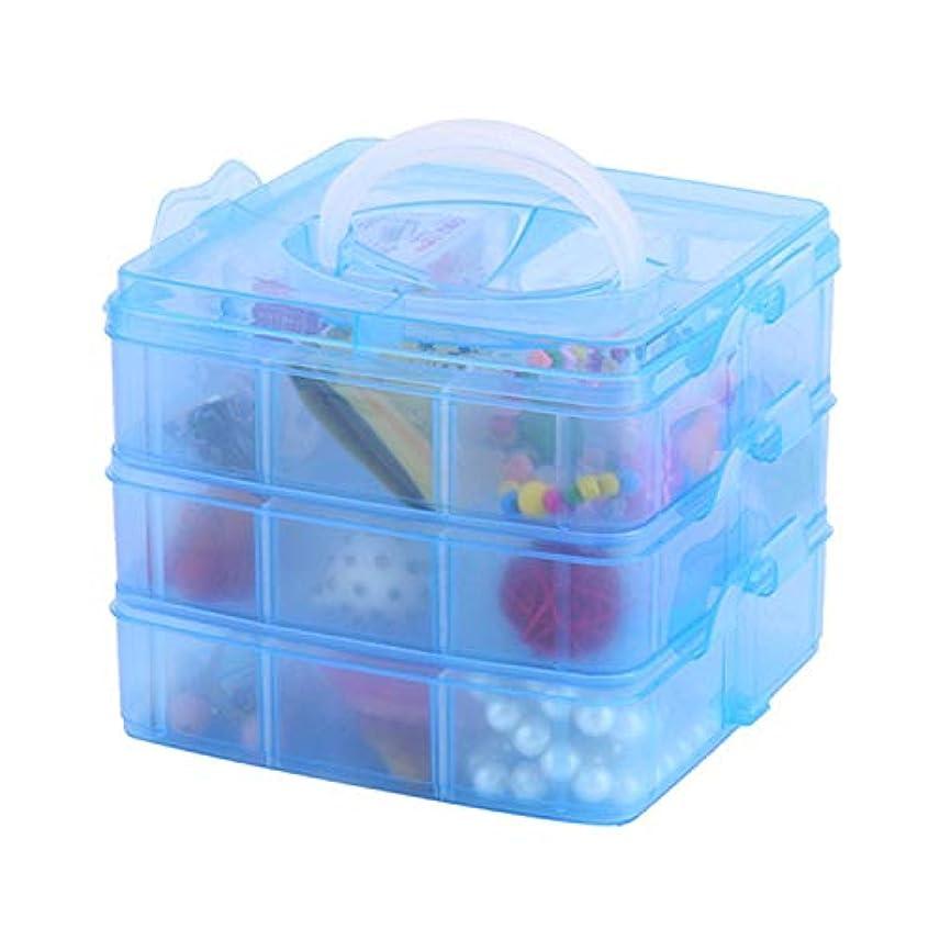 事務所支援スキャンダラスYWAWJ 3層透明スタッカブル調節可能なビーズクラフトジュエリーツール収納オーガナイザー、コンパートメントスロットプラスチッククラフト収納ボックスオーガナイザー用おもちゃデスクトップアクセサリー引き出しまたはキッチン (Color : Blue)