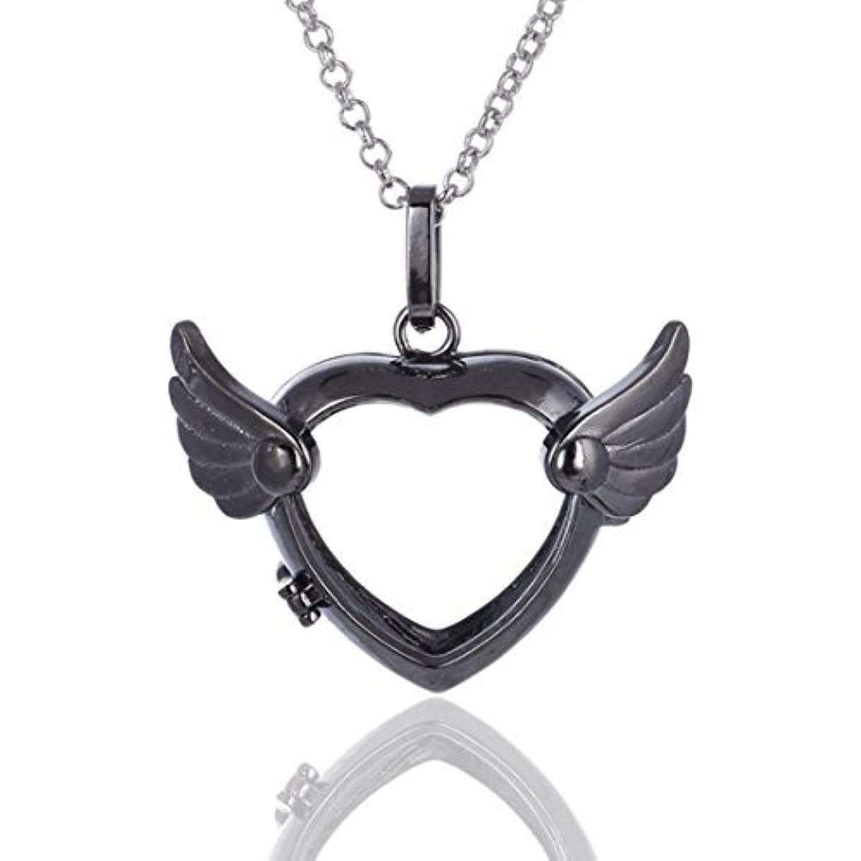 緊張文ウイルスLove Heart Angel Wingsロケットペンダント、Aromatherapy Essential Oil Diffuserネックレス、シルバー、ブラック、ゴールド