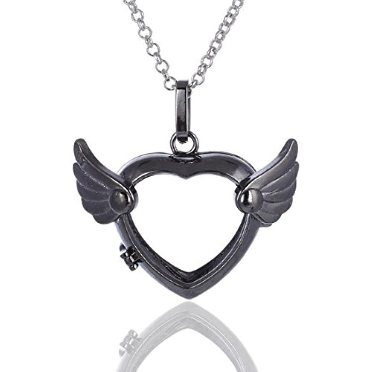 発言するスパイラル予知Love Heart Angel Wingsロケットペンダント、Aromatherapy Essential Oil Diffuserネックレス、シルバー、ブラック、ゴールド