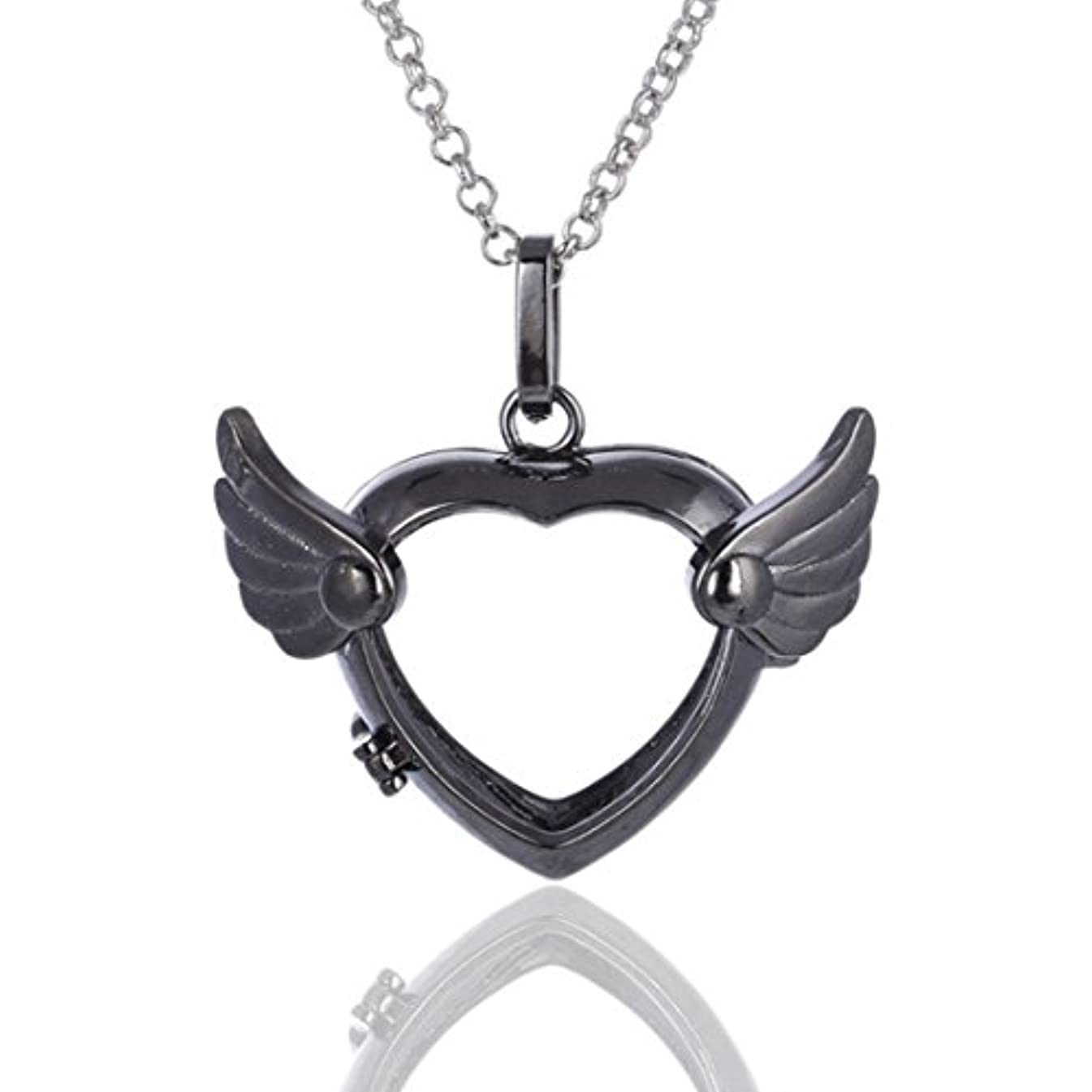 Love Heart Angel Wingsロケットペンダント、Aromatherapy Essential Oil Diffuserネックレス、シルバー、ブラック、ゴールド