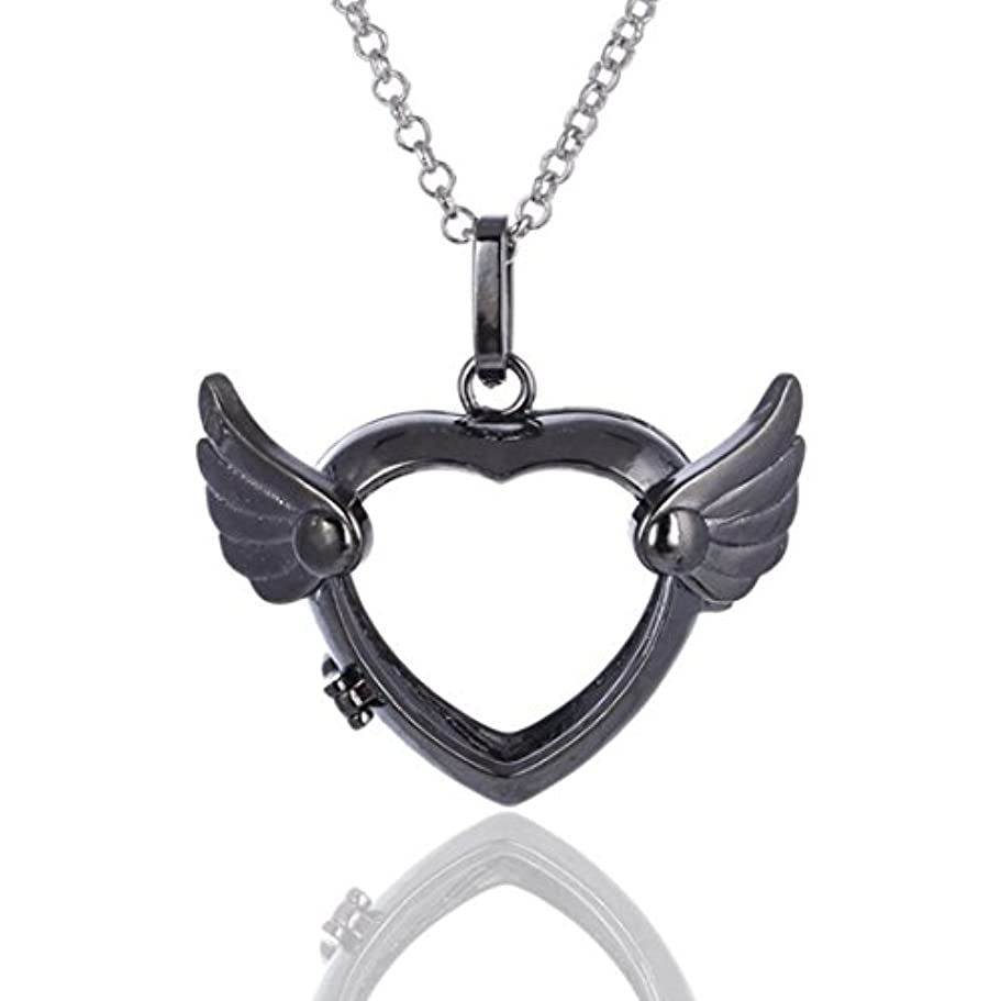 権限を与える幅金属Love Heart Angel Wingsロケットペンダント、Aromatherapy Essential Oil Diffuserネックレス、シルバー、ブラック、ゴールド