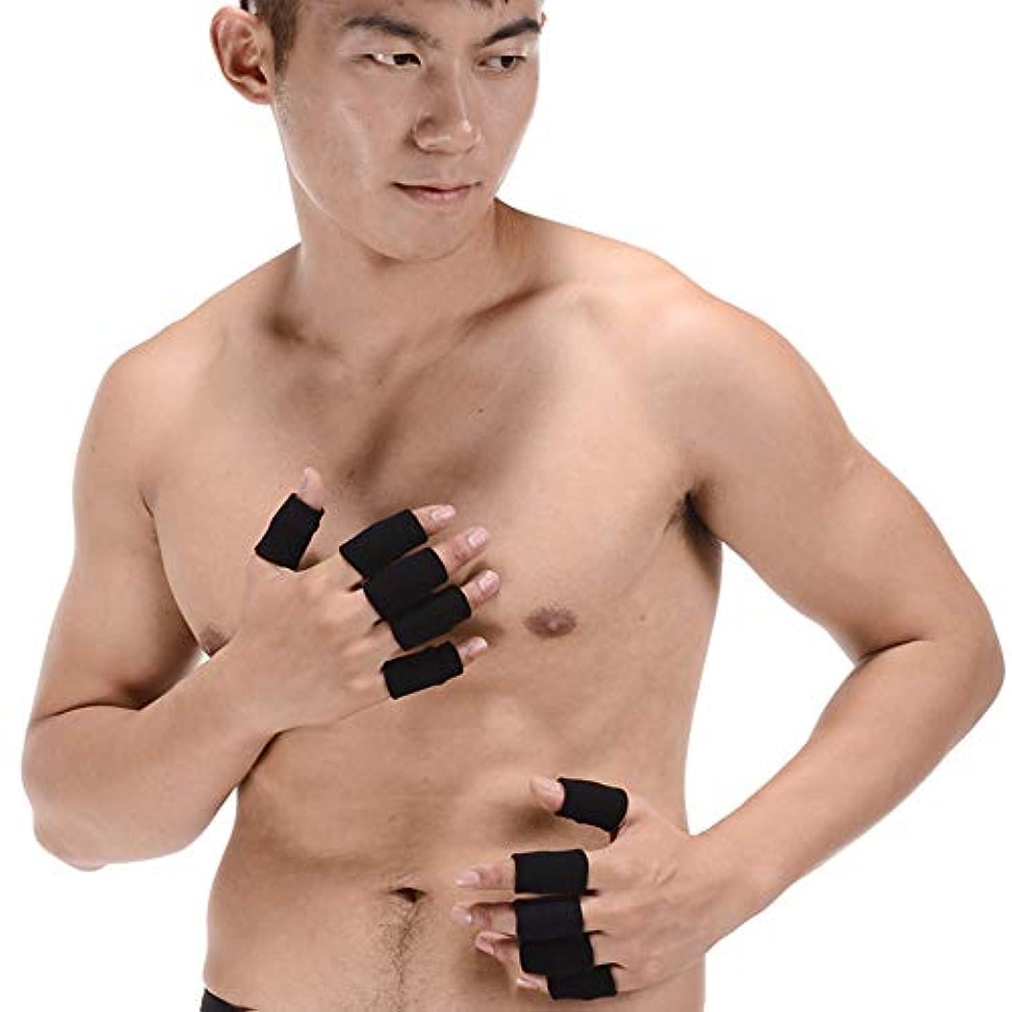 軍代表最少Men club スポーツ指スリーブカバーナイロン指プロテクター伸縮保護指カバー包帯指関節スリーブ黒10個スタイリッシュで人気