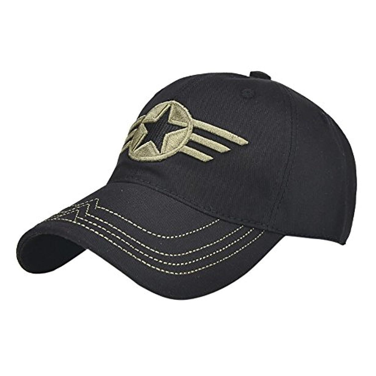 全体に放つしがみつくRacazing Cap ミリタリーキャップ 野球帽 迷彩 夏 登山 通気性のある メッシュ 帽子 ベルクロ 可調整可能 スターバッジ 刺繍 棒球帽 UV 帽子 軽量 屋外 Unisex Hat (黒)