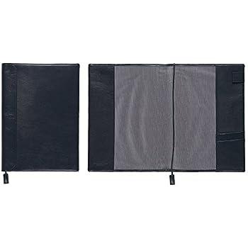 【本革】 ノートカバー (A4サイズ) しおり付き (ブラックネイビー) Business Leather Factory