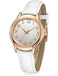 ATsense 腕時計 レディース,ホワイト ファッション 人気 アナログ 可愛い 革バンド 時計 クオーツ C74614