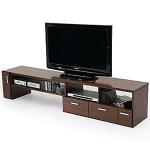 テレビ台 テレビボード 伸縮 角度自由 コーナー ローボード 50インチ対応 木製 109cm~198cm ウォルナット