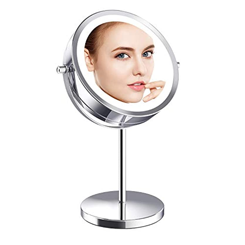 アッパー衝突コースなくなるGospire 化粧鏡 10倍拡大鏡+等倍鏡 LED卓上化粧鏡 メイクミラー 両面型 360度回転式 日本語説明書付き ライティングミラー プレゼント