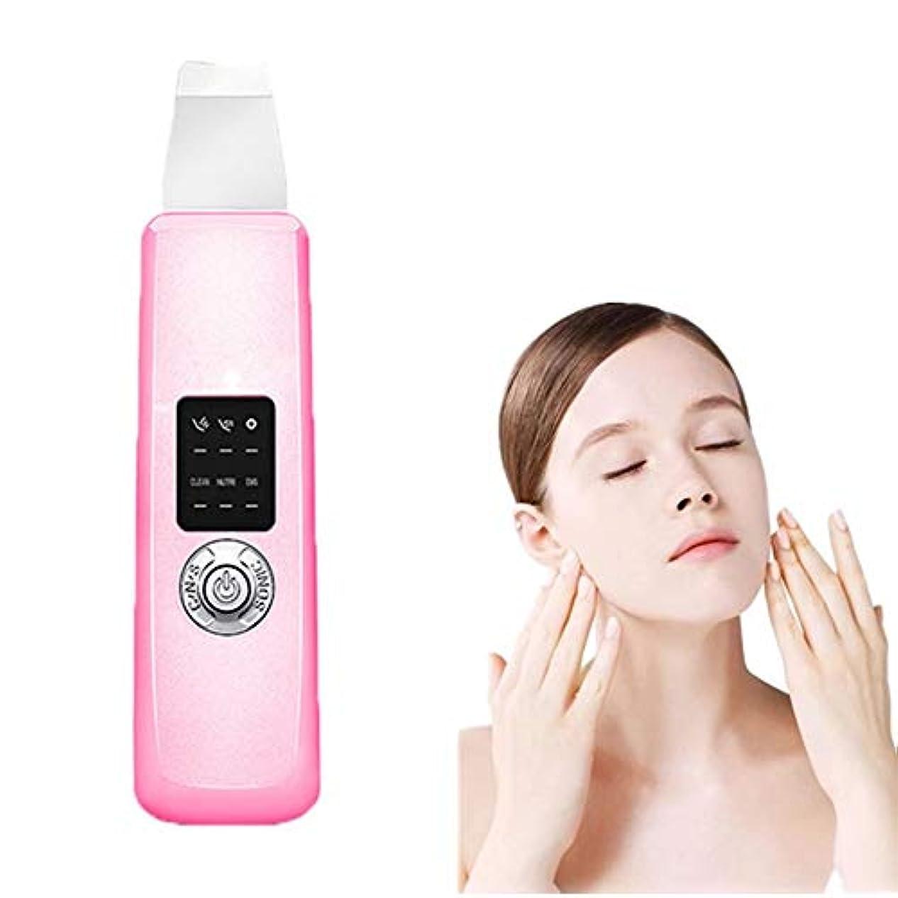 阻害するおびえたくさび顔の皮膚スクラバーエレクトリックブラックヘッドリムーバー毛穴イオンクリーナーにきび面皰ExtractorのUSB充電式フェイシャルマッサージリフティング - ピンクマッサージャー死んだ皮膚の削除ツールEMSのスキンケアピーリング