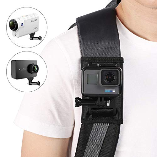 【Taisioner】アクションカメラ用 バックパックマウント+1/4ネジ アクションカメラ用マウント 肩部用 カメラ用 ウェアラブルカメラ用 アクセサリー
