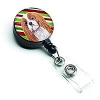 Caroline's Treasures Cavalier Spaniel Candy Cane Christmas Retractable Badge Reel Multicolor (SC9354BR) [並行輸入品]