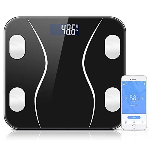 体重計 体組成計 体脂肪計 高精度センサー LCDデジタル表示 強化ガラス ダイエット 体重/体脂肪率/水分率/骨量/基礎代謝量/内臓脂肪レベル/BMIなど測定可能 Fitbit/Apple Healthと連携 コンパクト シンプル 日本語取扱説明書付き 180kgまで計測 健康管理・肥満予防・体重管理(電池付属)HOKONUI (ブラック)