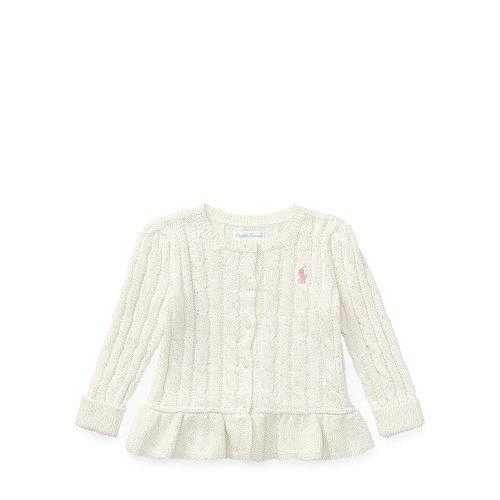 ポロ ラルフローレン ケーブルニット・ぺプラムカーディガン[ホワイト](女の子12~24か月用)24Mサイズ