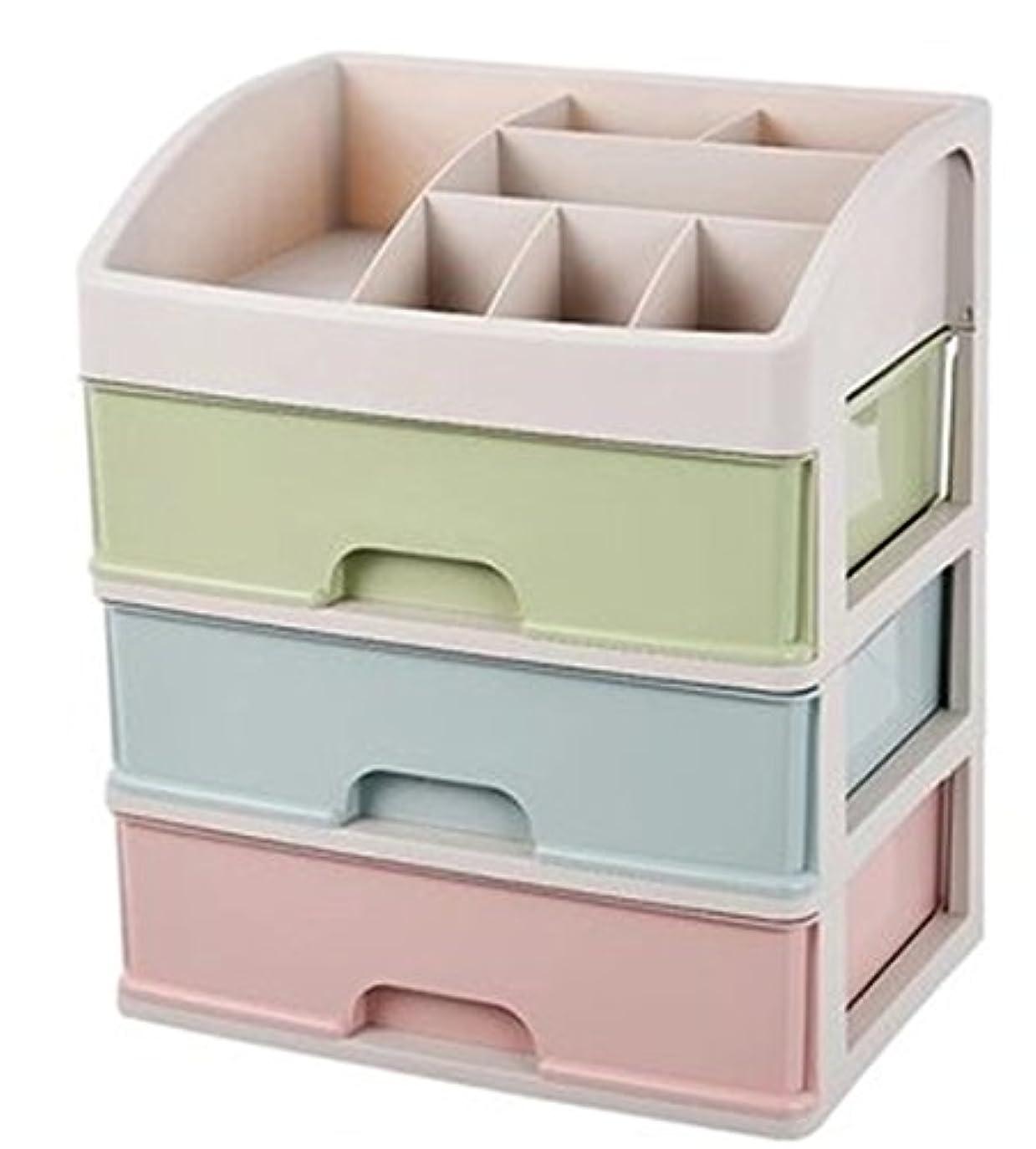 驚きタワーデコレーションZUOMAメークボックス 化粧品収納ボックス コスメスタンド 引き出し式 メークケース 小物/化粧品入れ コスメ収納 透明アクリル 大容量 (マカロン34*25*40CM(3層))