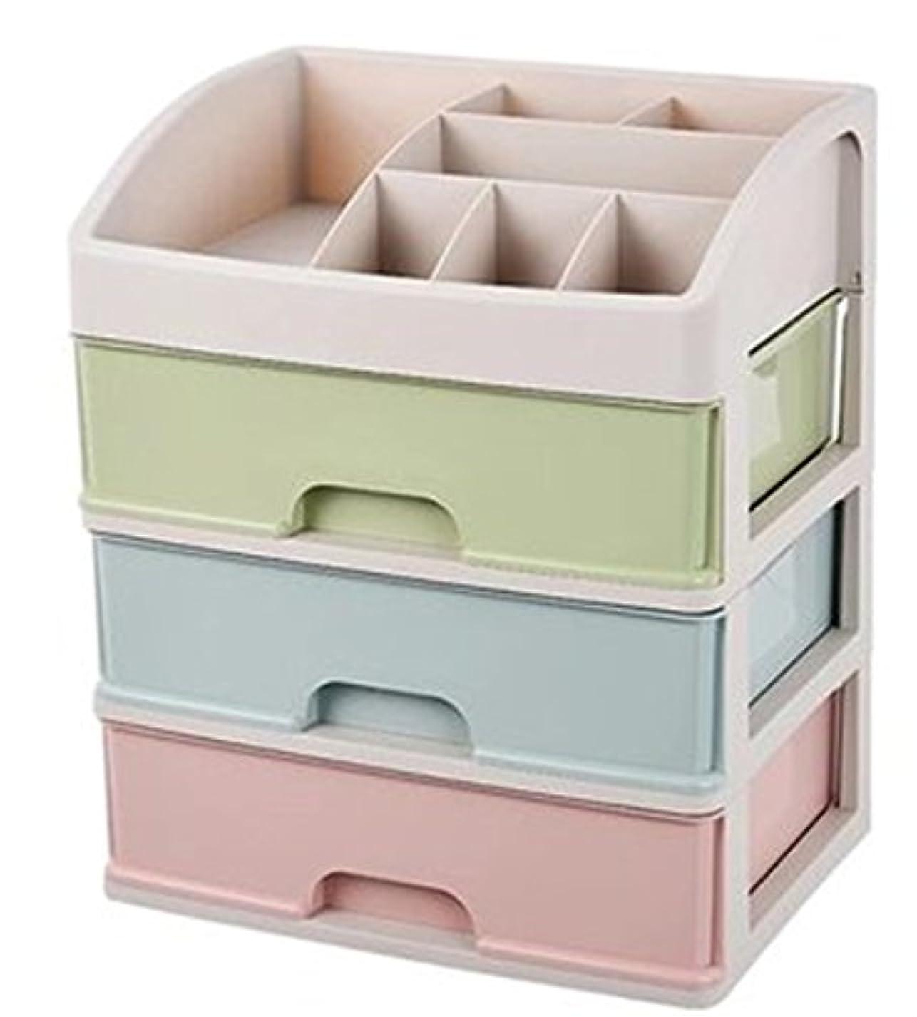 確立里親袋ZUOMAメークボックス 化粧品収納ボックス コスメスタンド 引き出し式 メークケース 小物/化粧品入れ コスメ収納 透明アクリル 大容量 (マカロン34*25*40CM(3層))