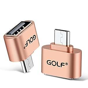 Joyshare Micro USB OTGケーブル (ホスト機能)対応 USBホスト 変換アダプター (MicroBオス-Aメス) (ゴールド - 1セット)