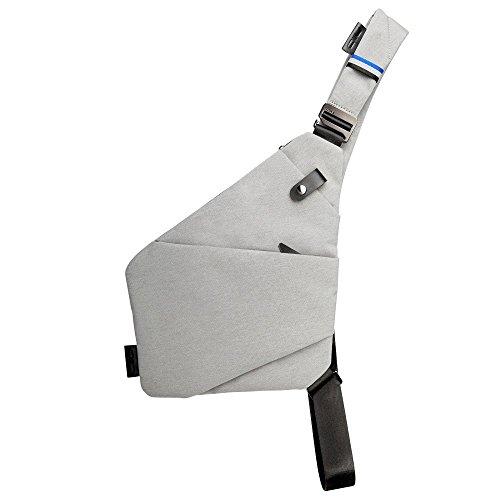 NIID-FINO II 新デザインスリングショルダークロスボディチェストバッグスリムリュックサック多目的デイパックバージョンが軽く、より防水性に優れ、使いやすくなっています。 (ライトグレー, 右手)