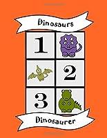 Dinosaurs: Bilingual Colouring Book, Numbers, English Norwegian learn language, fun educational activity for kids, preschool, school, multilingual children baby