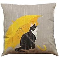 枕カバー,猫柄,傘柄,笑え熊 亜麻 43cmx43cm クッションカバー 可愛い シンプル 柔らかい