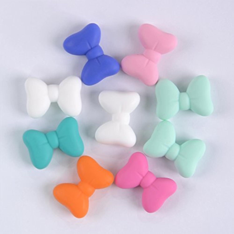 Kissteether 50pcs 新製品ハーフボウタイビーズビーズは、ベビーテイストブレスレット/ネックレスと食品グレードのシリコーンから作られたDIYファッションシリコーンペンダント (50pcs)